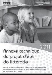 Annexe technique du projet d'été de littératie 2011
