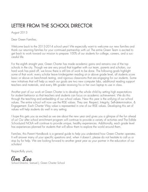 LETTER FROM THE SCHOOL DIRECTOR - FirstLine Schools