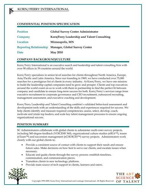 Survey Center Admin Job Description PDF - Lominger