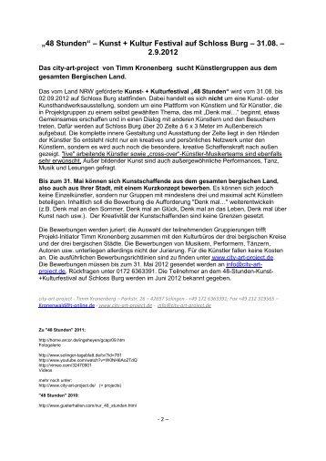 Bewerbung Kunst und Theater - Kulturregion Bergisches Land