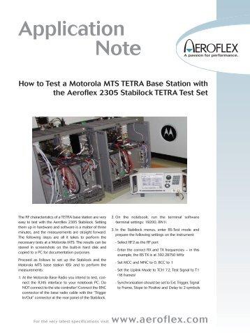 Motorola MTS TETRA Base Station:blankapp.qxd.qxd - Aeroflex
