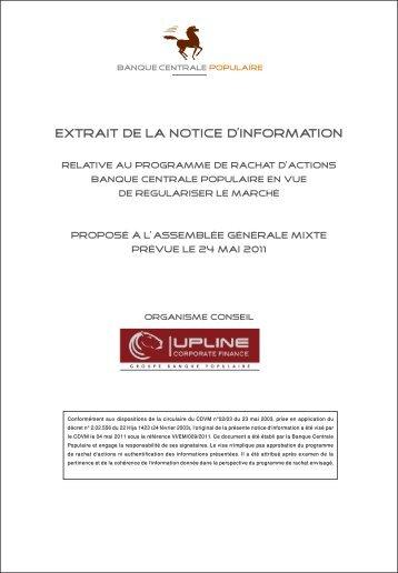 EXTRAIT DE LA NOTICE D'INFORMATION - Bourse de Casablanca