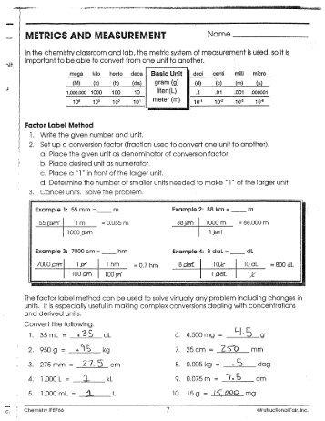 metrics and measurement worksheet - Termolak