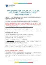 TRANSFORMATION SARL EN SA – SARL EN SAS ou SASU – SA ...