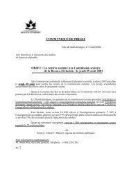COMMUNIQUÉ DE PRESSE OBJET : La rentrée scolaire à la ...