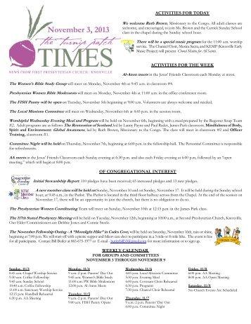 November 3, 2013 Turnip Patch Times - First Presbyterian Church