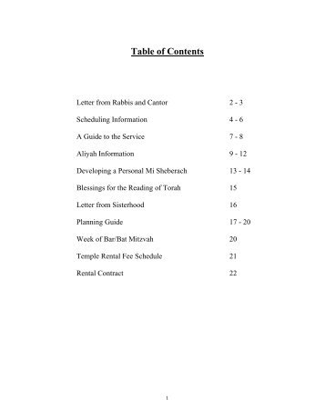 Table of Contents - Temple Isaiah