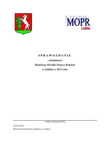 sprawozdanie z działalności MOPR Lublin - Miejski Ośrodek ...