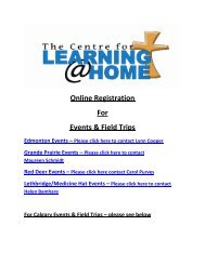 Online Registration For Events & Field Trips - Centre For Learning ...