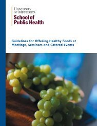 Guidelines to Healthy Eating at Seminars