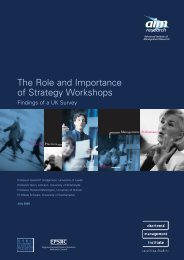 The Role and Importance of Strategy Workshops - (AIM) Research