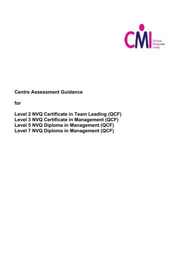 Level 3 NVQ Certificate in Management (QCF) - Chartered ...