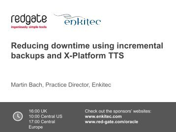 Reducing downtime using incremental backups and X-Platform TTS