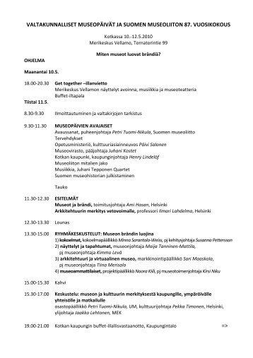 valtakunnalliset museopäivät ja suomen museoliiton 87. vuosikokous
