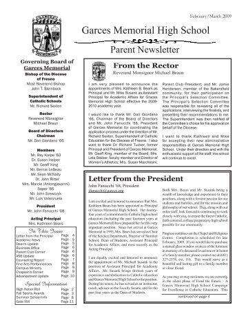 Letter from the President - Garces Memorial High School