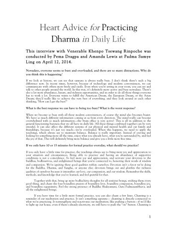 Heart Advice for Practicing Dharma in Daily Life PBC 2014 Pema Mandala