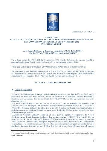 Augmentation de capital de DOUJA PROMOTION GROUPE