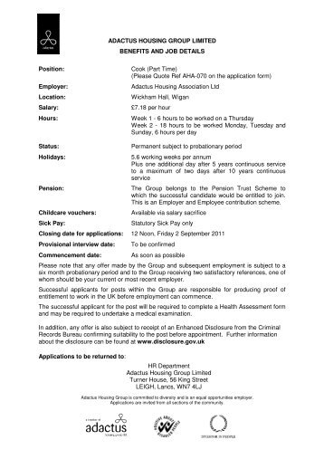Cook (Part Time) (Please Quote Ref AHA-070 on the application f