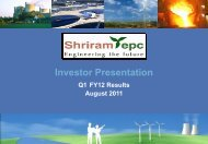 SHRIRAM EPC LIMITED INVESTOR PRESENTATION January 2008