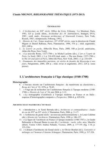 Bibliographie thématique 1973-2013 de Claude Mignot