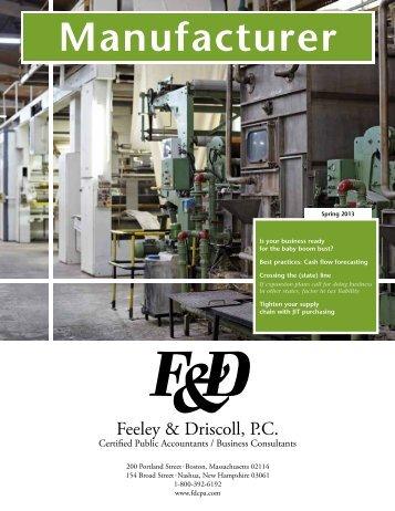 Manufacturer Newsletter - Feeley & Driscoll PC
