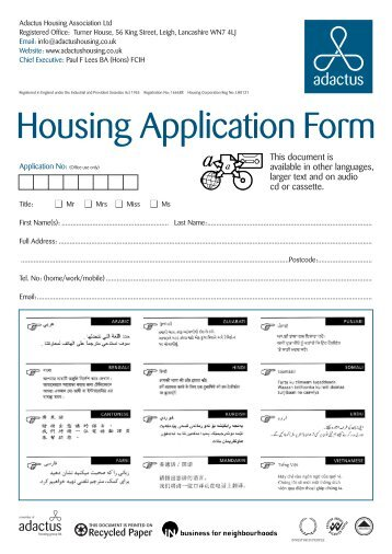 Housing Application Form - Adactus Housing Group Ltd
