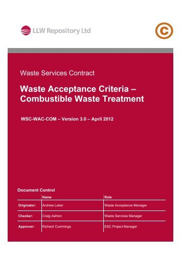 Combustible Waste Treatment - Low Level Waste Repository Ltd