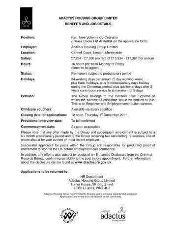 Part Time Scheme Co-Ordinator - Adactus Housing Group Ltd