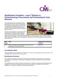 Qualification Factsheet – Level 7 Diploma in Commissioning ...
