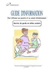 Service de garde en milieu scolaire - Commission scolaire de ...