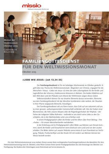 Familiengottesdienst für den Weltmissionsmonat