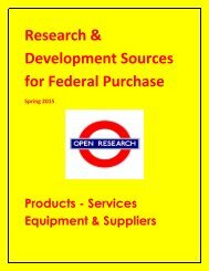Research & Development Sources for Federal Purchase