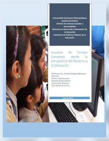 Escuelas de Tiempo Completo desde la perspectiva del Derecho a la Educación
