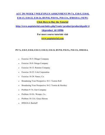 ACC 291 Week 2 Individual WileyPLUS Practice