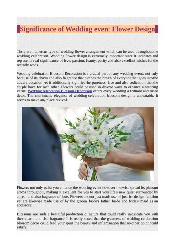 Significance of Wedding event Flower Design