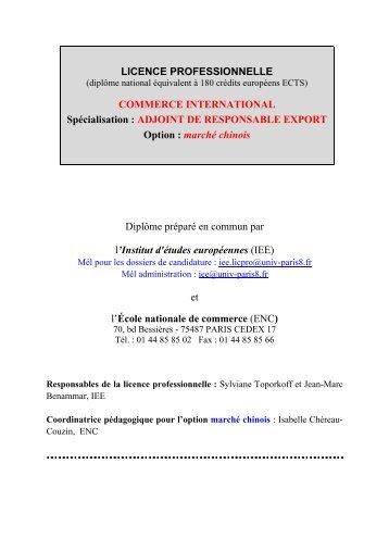 Télécharger la brochure de la licence pro au format PDF