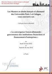 Les Masters en droits français et allemand des Universités ... - JPC
