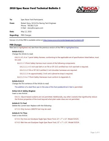 2010 Spec Racer Ford Technical Bulletin 3 - SCCA Pro Racing