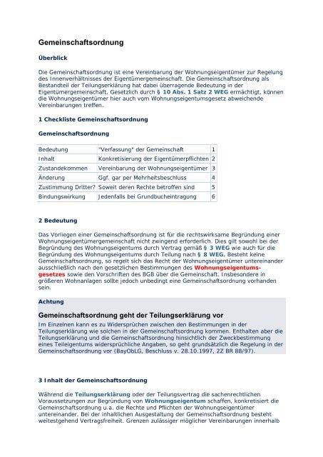 Gemeinschaftsordnung Muster Pdf Free Download 10 14