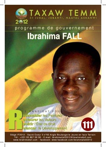 PROGRAMME DE GOUVERNEMENT DE IBRAHIMA FALL