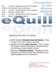 AWC Spring 2013 Writing Contest - The Atlanta Writers Club