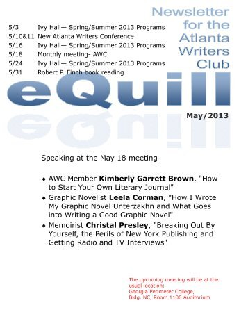 AWC Spring 2013 Writing Contest - The Atlanta Writers Club