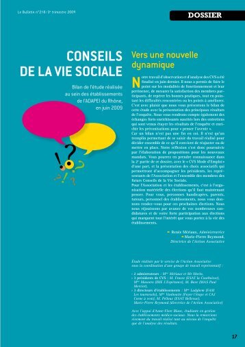 Conseils de la Vie soCiale - (ADAPEI) Rhône