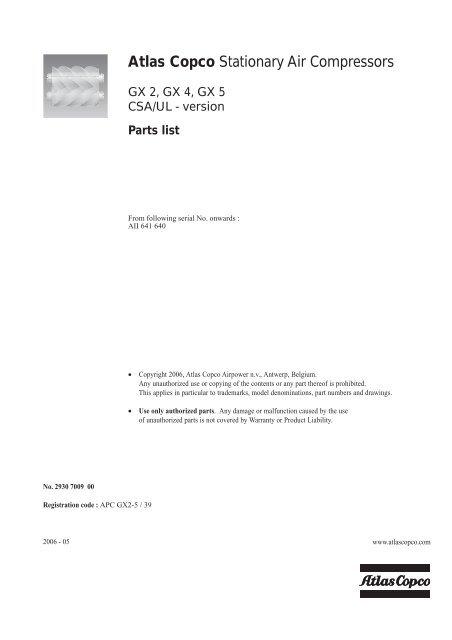 Atlas Copco Air Compressor Parts Catalog