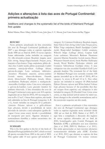 Adições e alterações à lista das aves de Portugal Continental ... - spea
