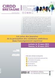 Les actes des journées de la prévention des ... - CIRDD Bretagne