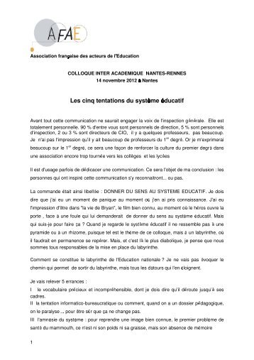 Les cinq tentations du système éducatif - AFAE