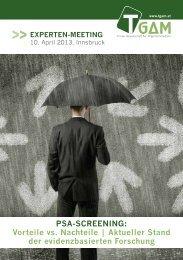 pSA-ScrEEning: Vorteile vs. nachteile   Aktueller Stand der ... - TGAM