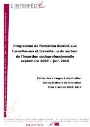 Programme de formation Interfédé 2009-2010 Cahier des charges