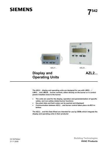 7542 Display and Operating Units AZL2... - Boilers Burners & Controls